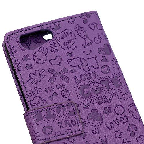 Lusee® PU Caso de cuero sintético Funda para Wiko Lenny 3 Max / Wiko Jerry Max Cubierta con funda de silicona botón pequeña bruja rojo rosa pequeña bruja lilac
