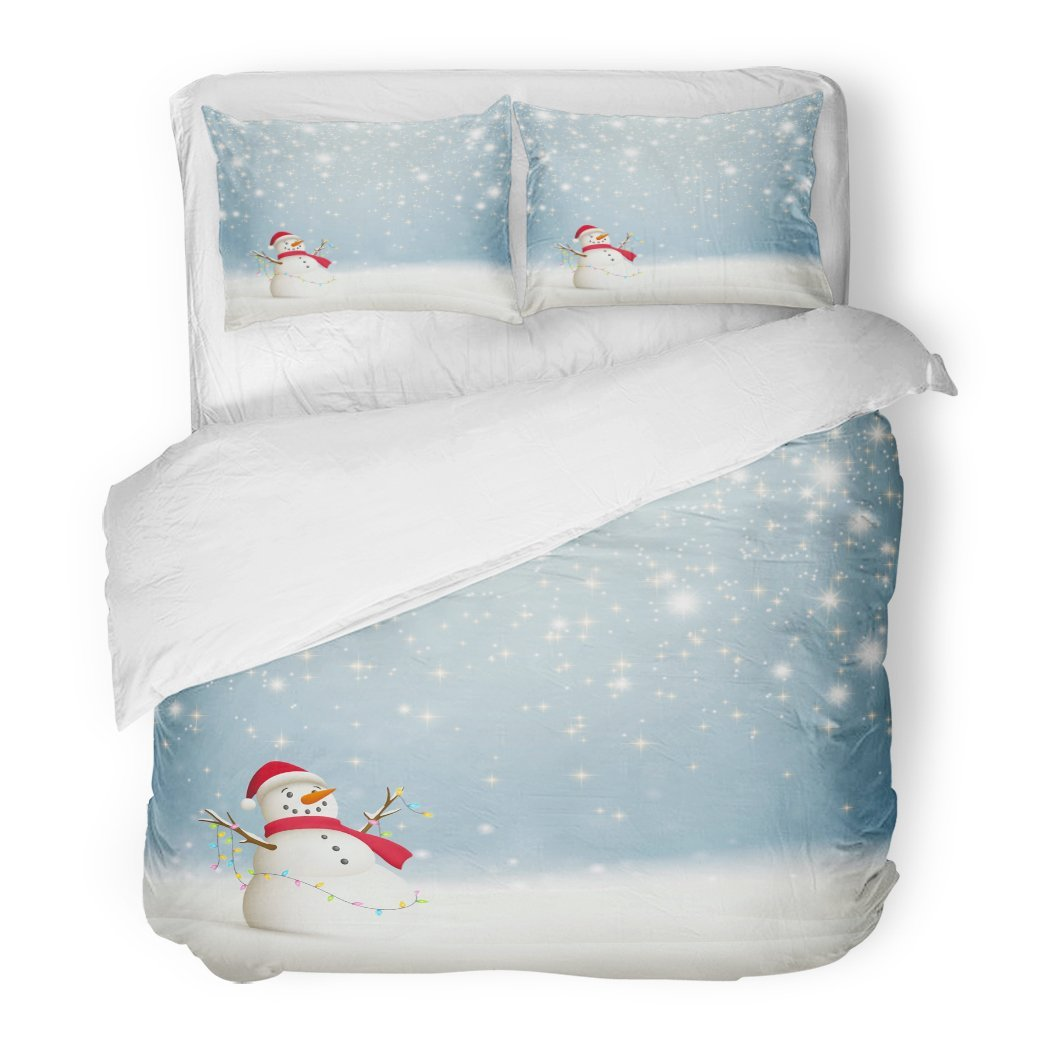 SanChic Duvet Cover Set Blue Winter Abstract Christmas Sparkling Stars Snowman Red Window Decorative Bedding Set Pillow Sham Twin Size