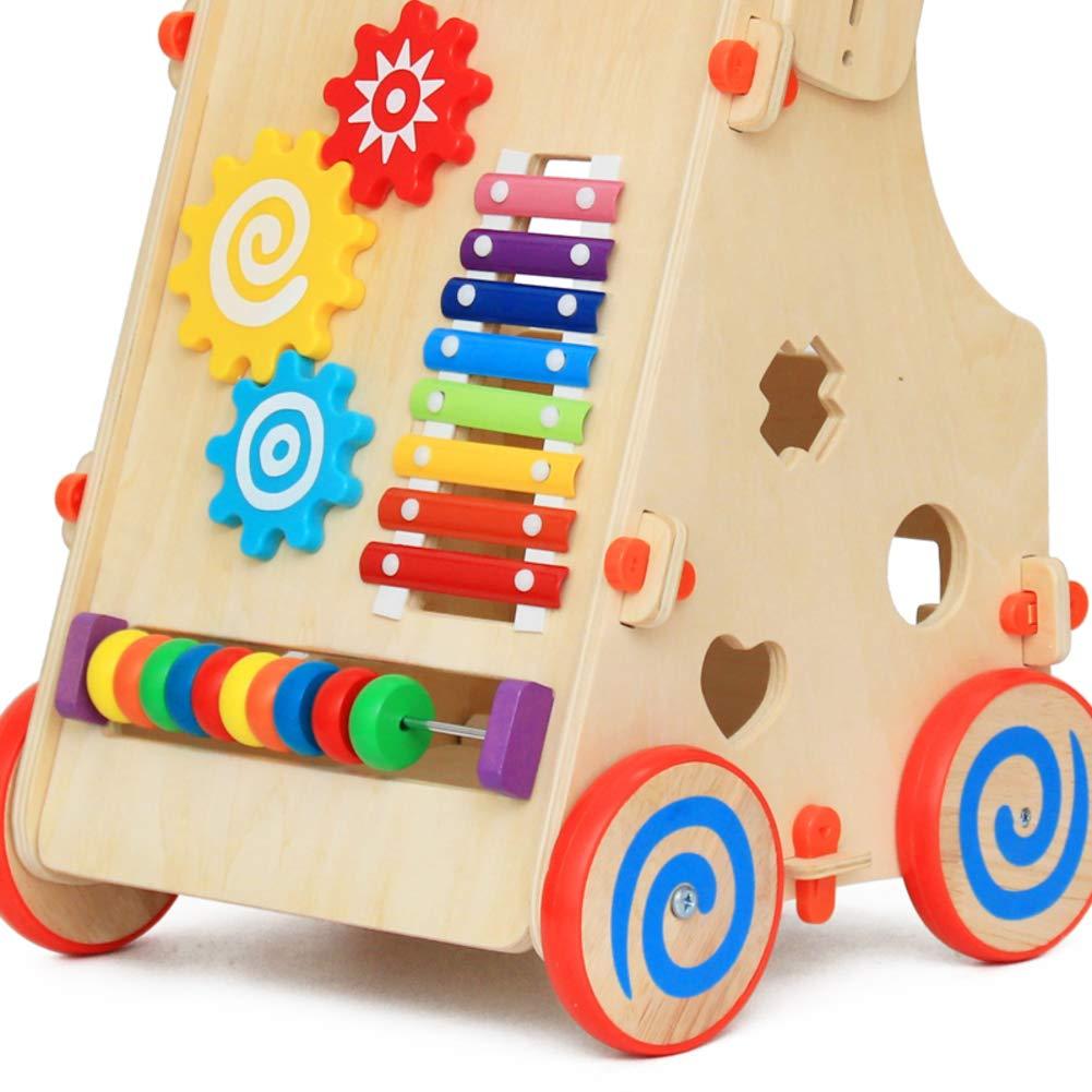 Carro de ni/ño ni/ño,Andador de madera multifuncional Coche del juguete del beb/é-A