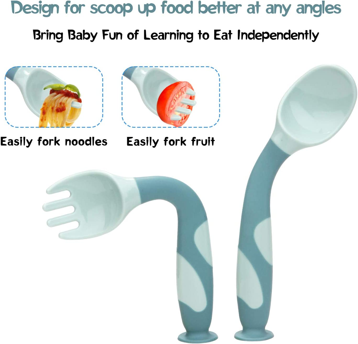 Baby Utensils Spoons Forks with Travel Safe Case for Toddler Babies Children Feeding Training Spoon Easy Grip Bendable Perfect Self Feeding Learning Stand Spoon Fork