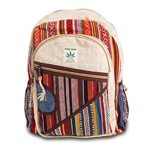 Maha Bodhi All Natural Handmade Multi Pocket Hemp Laptop Backpack – Multi Color Stripe