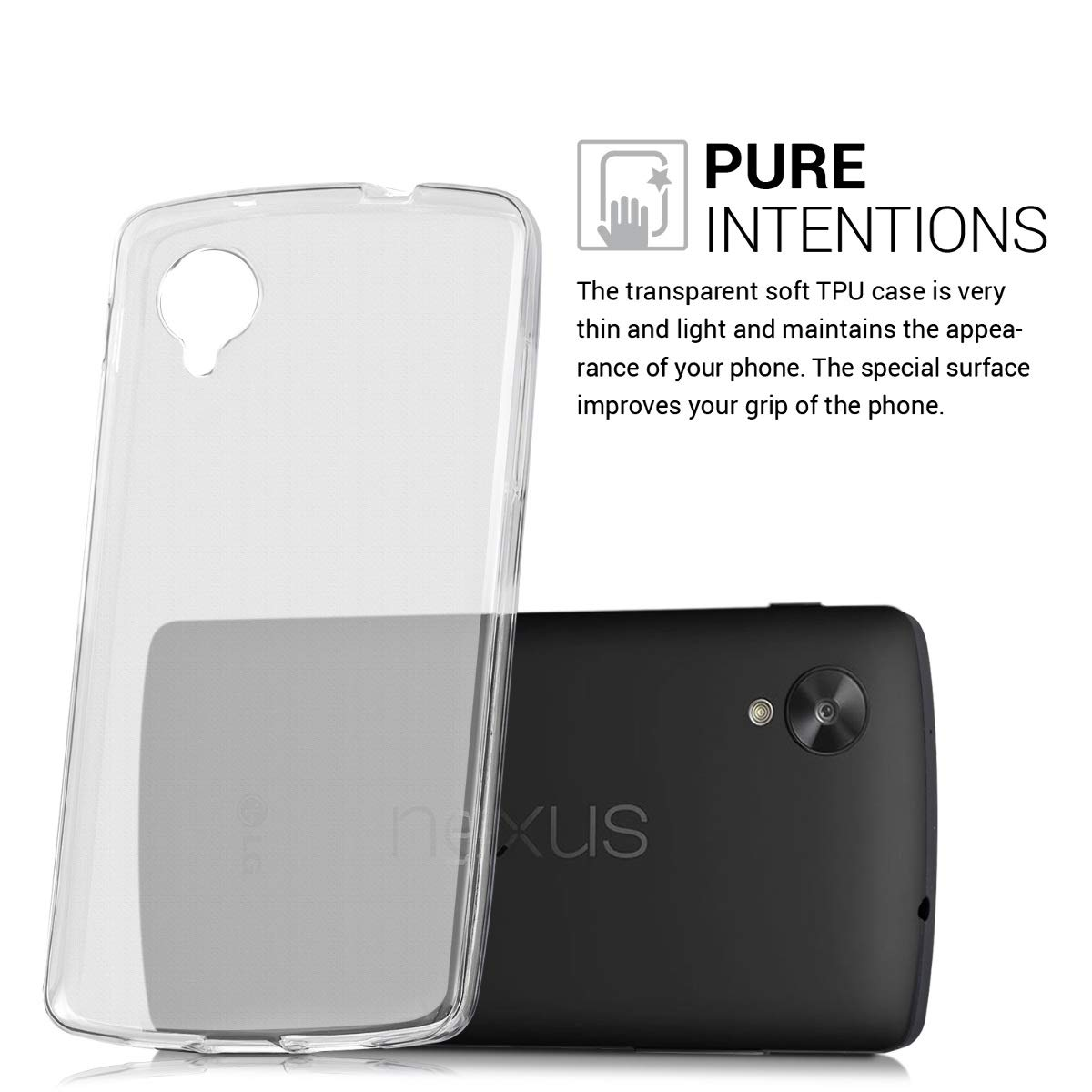 kwmobile Crystal Case for LG Google Nexus 5 - Soft Flexible TPU Silicone Protective Cover - Matte Transparent