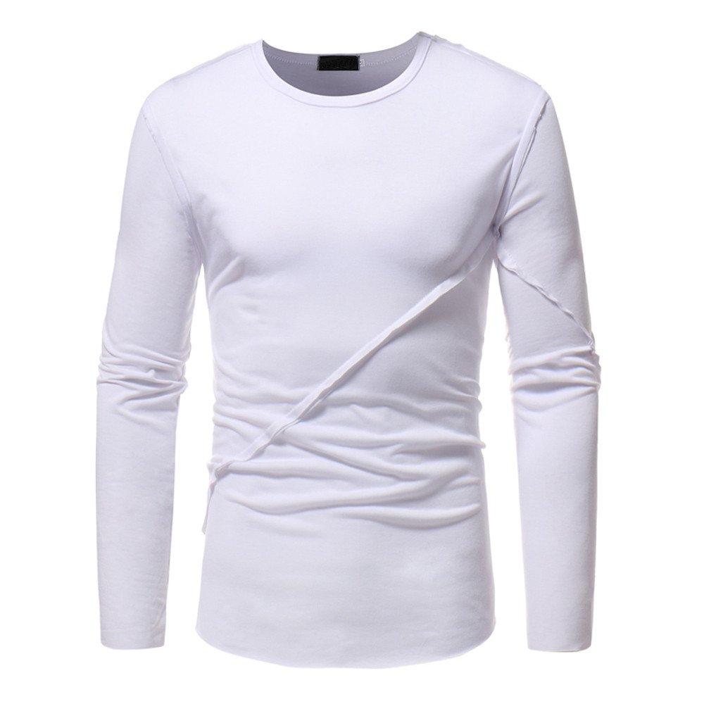 Camisas Hombre Baratas,❤ Amlaiworld Moda Sudaderas de Manga Larga de Color Puro Otoño de los Hombres Top Blusa Camiseta Deporte Slim fit Casual Niños ...