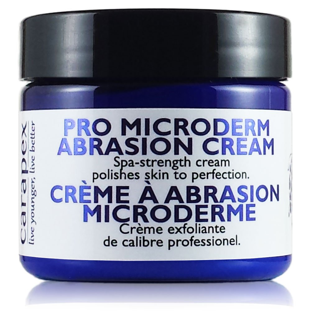 Carapex Microdermabrasion Cream, Exfoliating for Face or Body, Exfoliator for Sensitive, Oily, Acne Scars, Stretch Marks, Blackheads, Wrinkles, Contains Crystal Exfoliant, 2oz
