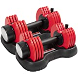 ELEVENS Adjustable Dumbbells - 27.5 lbs Weight Set with Handle and Weight Plate for Gym and Home, Black (Double)
