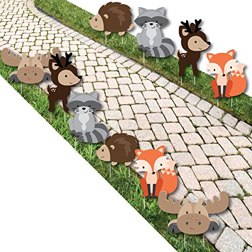 Woodland Creatures – Forest Animal Lawn Decorations – Outdoor Baby Shower or Birthday Party Yard Decorations – 10 Piece