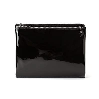 Zarapack Womens Fold Over Double Zipper Compartments Patent Leather Clutch Handbag Large
