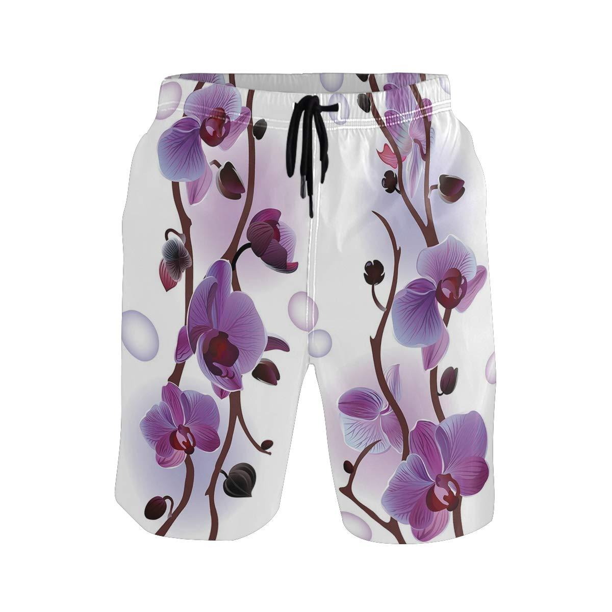 KVMV Gardening Themed Pattern with Little Tender Primrose Primula Blos 5size Beach Shorts