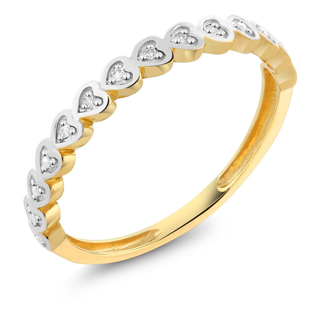 18K Solid Yellow Gold White Diamond Heart Shape Ladies Anniversary Wedding Band (Ring Size 8)