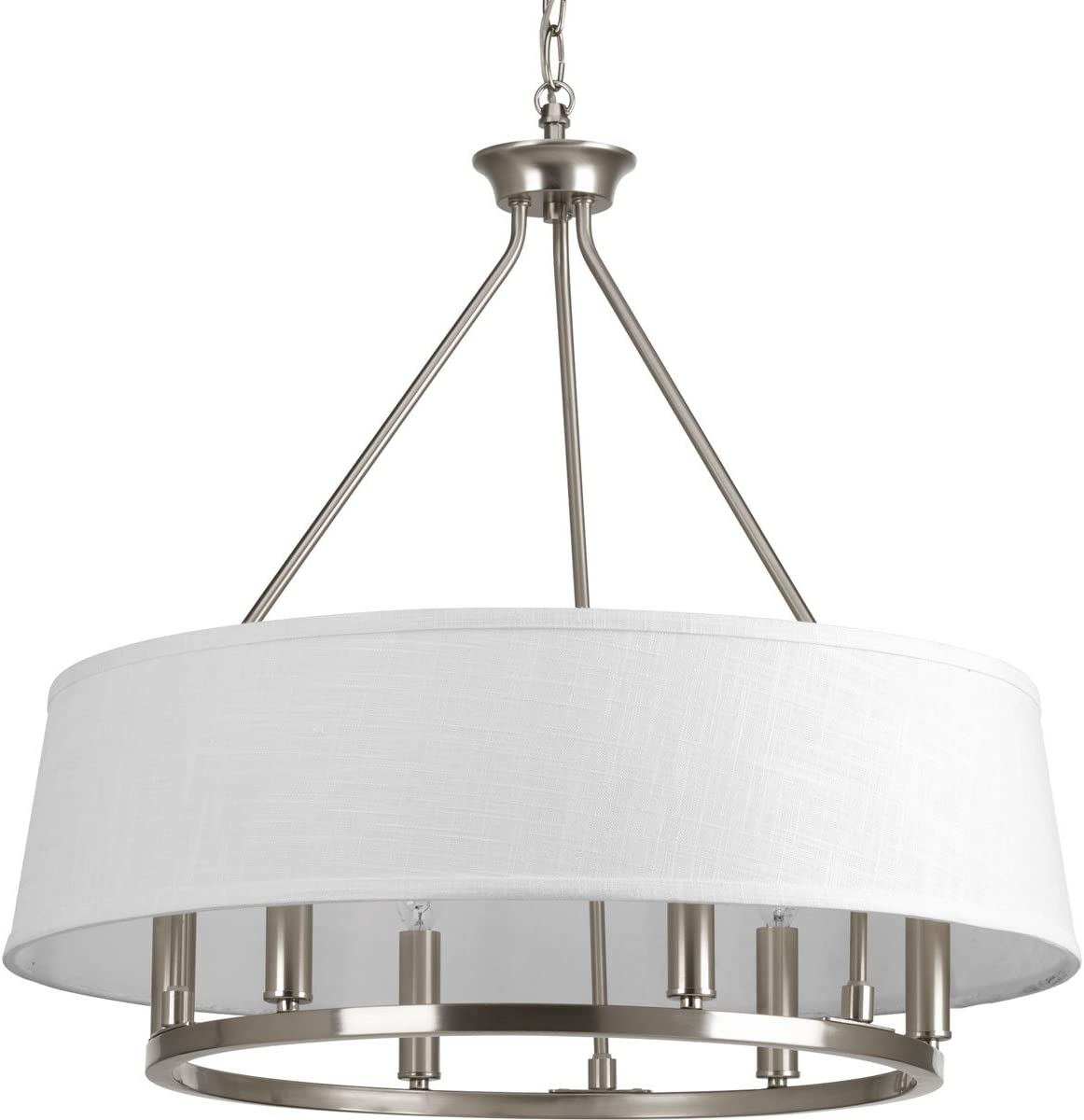 Progress Lighting P4618-09 Transitional Six Light Chandelier from Cherish Collection in Pwt, Nckl, B S, Slvr. Finish, Brushed Nickel