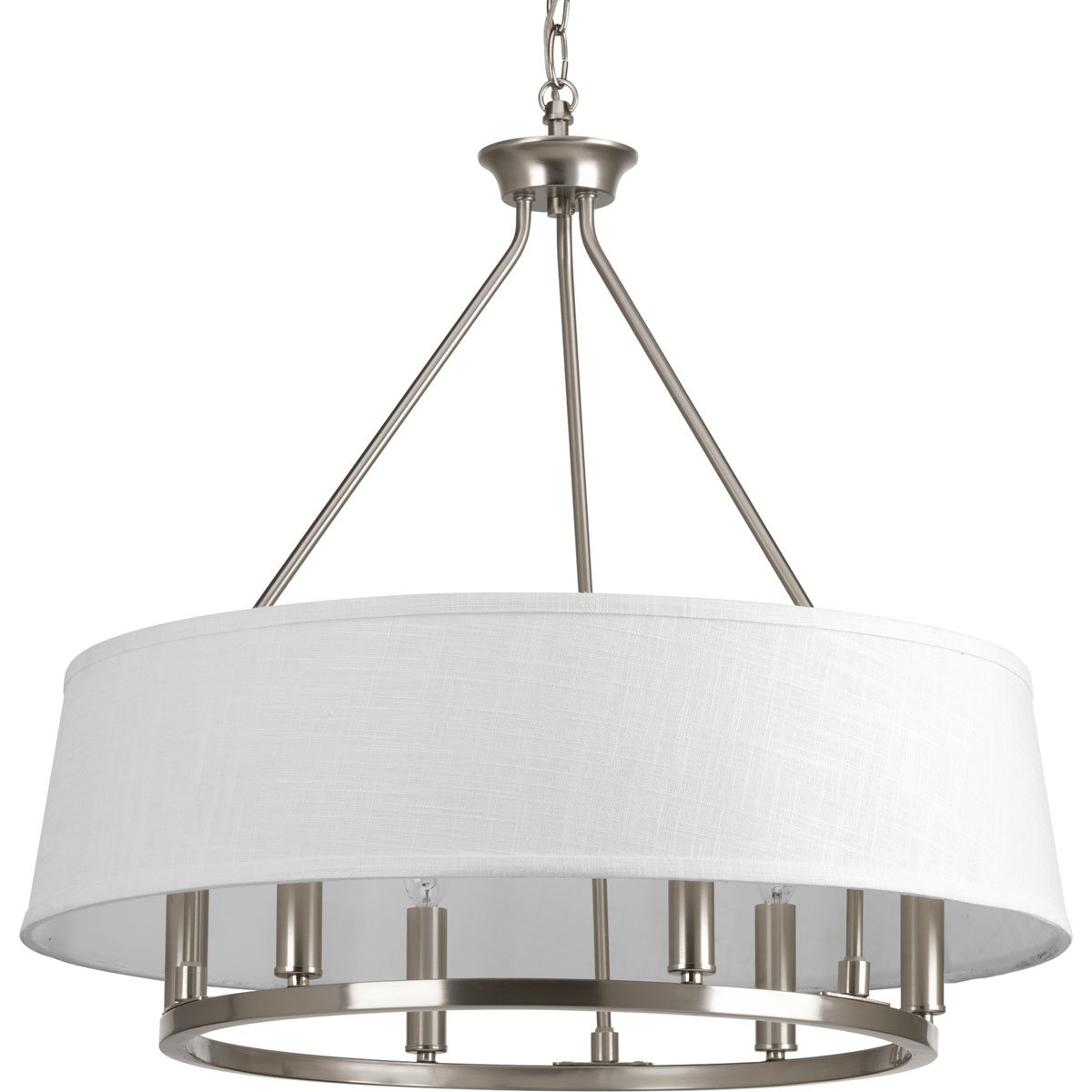 """Progress Lighting P4618-09 Traditional/Formal 6-60W Cand Chandelier, 97"""" x 24"""" x 22.375"""", Brushed Nickel"""