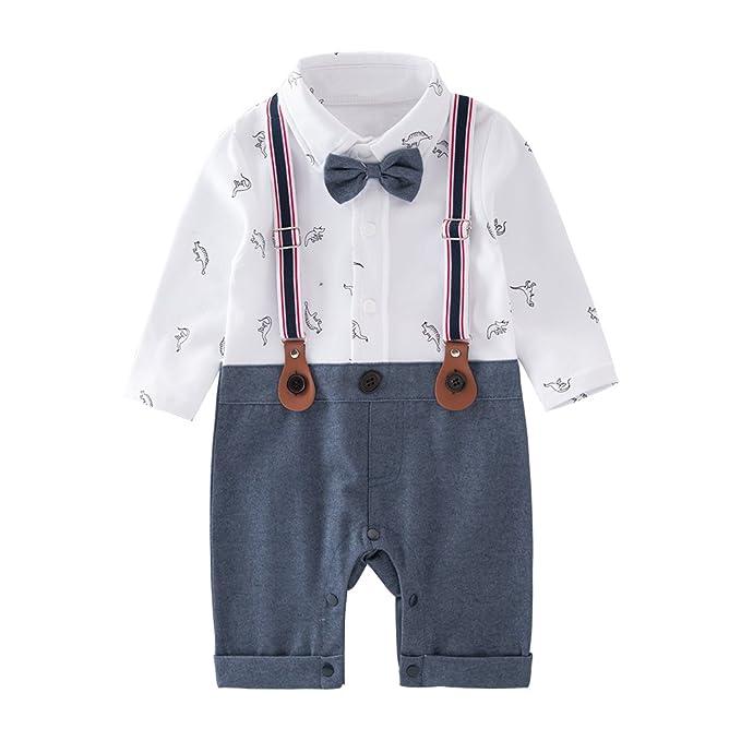 9c1b8dde3915 May s Baby Boys Long Sleeves Dinosaurs printing Bowtie Suspenders Romper  Onesie