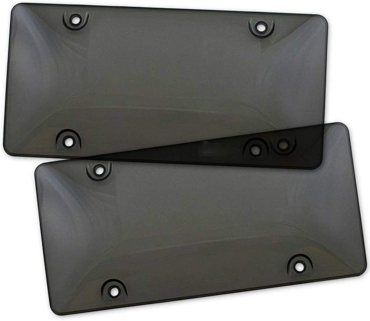 cicisame 2pcs Bubble Tinted Smoke License Plate Tag Frame Cover Shield Car Truck