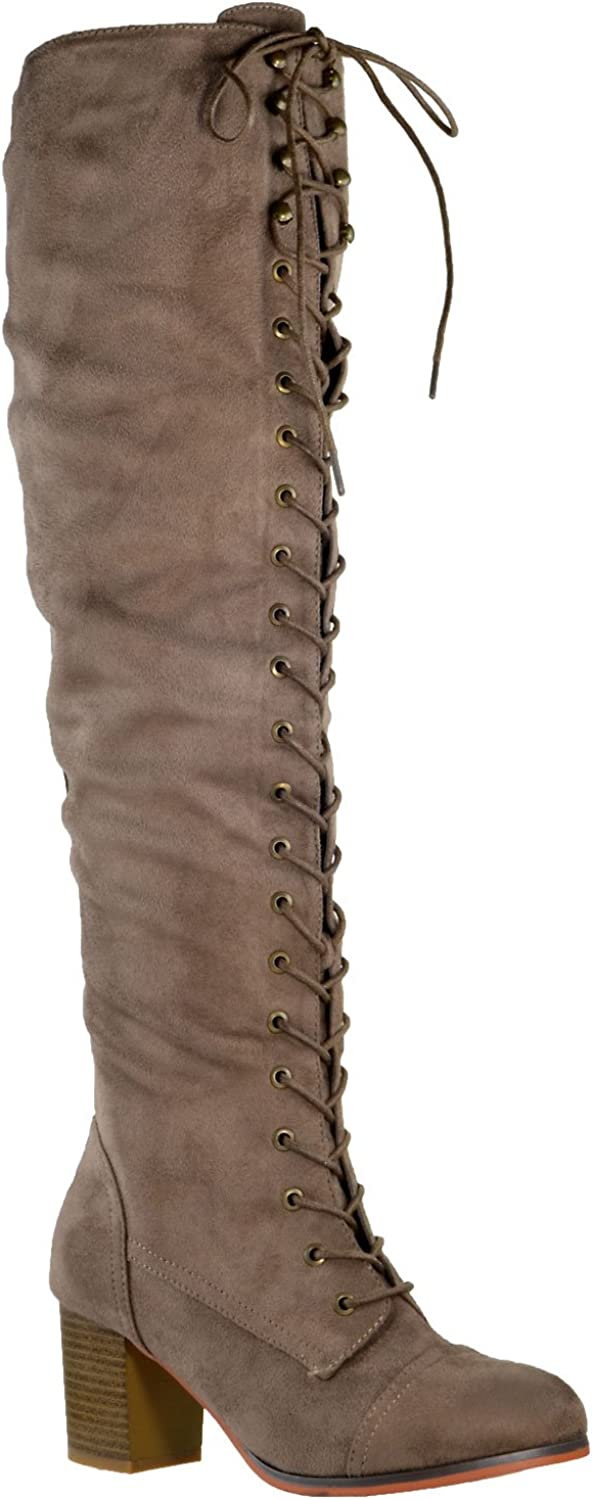 Generation Y Women Knee High Boots Chunky Block Heel Retro Lace Up Western Shoes