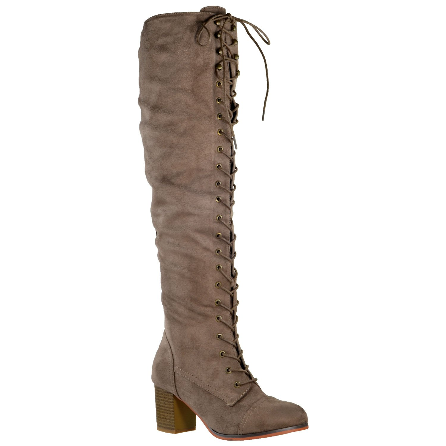 Generation Y Women Knee High Boots Chunky Block Heel Retro Lace Up Western Shoes Taupe SZ 8