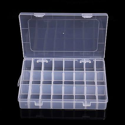 RGBZONE - Caja separadora de joyas, 4 piezas, organizador de cuentas de plástico transparente ajustable, contenedor de almacenamiento 2Piece 24Grids: Amazon.es: Oficina y papelería