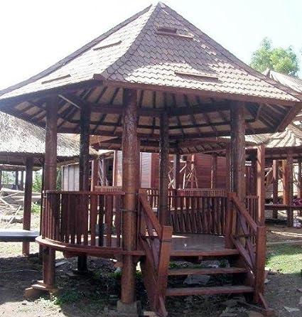 Redonda de madera de coco Dynamic con codo + escalera/jardín interior y exterior Decoración/variante: tamaño u techumbre: 2,5 m diámetro con techo de tejas: Amazon.es: Jardín