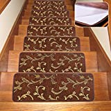 Soloom Carpet Stair Treads Non Slip Set of 13 Indoor Skid Resistant Stair Treads Rugs Rubber Backing,30''x8'',Brown