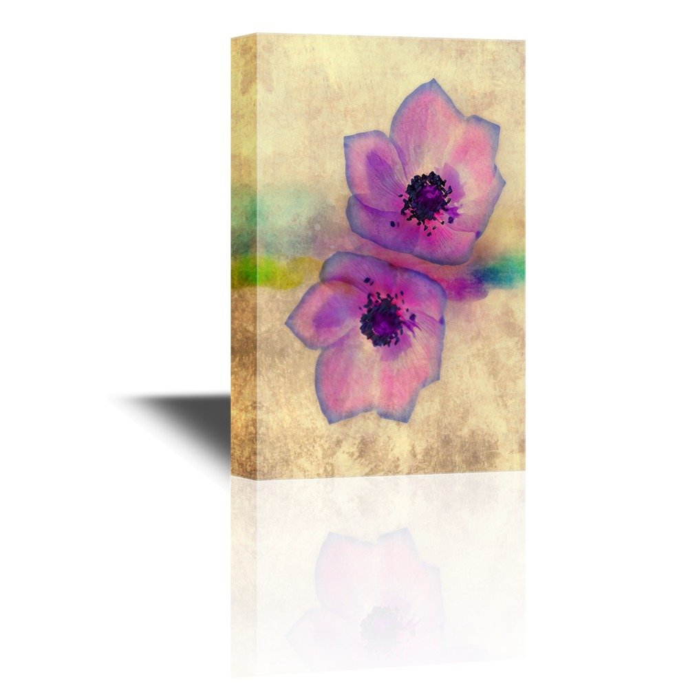 Two Purple Flower Petals On Yellow Vintage Background Gallery
