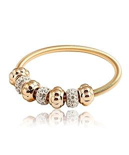 Brillante Punk estilo dorado cuenta para pulsera elástica pulseras Fashion joyas pulseras