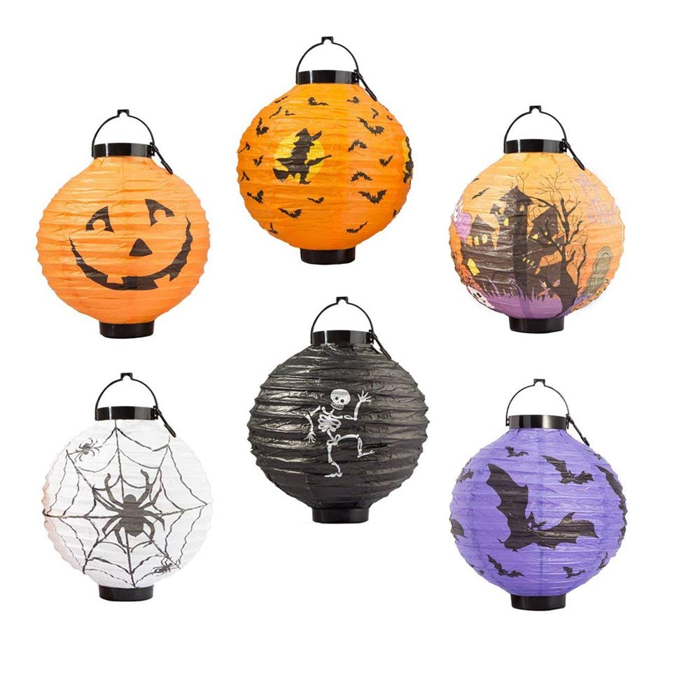 FUNISFUN Halloween Pumpkin Jack o Paper Lanterns with LED Light, Pack of 6, Spider Web Bat Skeleton Indoor Outdoor Yard Holiday Party Decorations