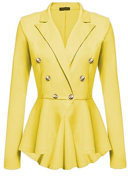 4ca0c12a7af2 Melansay Frauen Zweireiher Lange Ärmel Anzüge Tops Outwear Damen Büroarbeit  Schößchen Rüschen Ausgestelltem Blazer Jacken Mantel