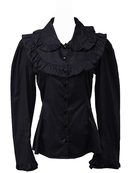 an*tai*na* Negra Algodón Volantes Retro Classical Gotica Lolita Camisa Blusa de
