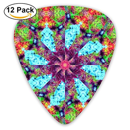 - 12-pack Fashion Classic Electric Guitar Picks Plectrums Autumn Leaf Kaleidoscope Background Instrument Standard Bass Guitarist