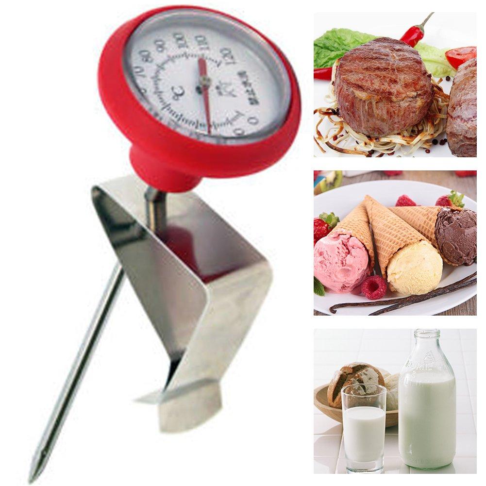 Ainstsk en Acier Inoxydable Lait Thermomètre, thermomètre de Lait, avec Clip, Cuisson Sonde thermomètre 0° -120°C Sonde de Nourriture Convient pour la création de Lait Fromage Yaourt Café