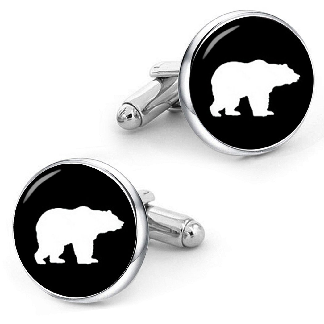 Kooer Brown Bear Cufflinks Custom Personalized Wedding Cuff Links Vintage Handmade Bear Cuff Links (Silver plated cufflinks)