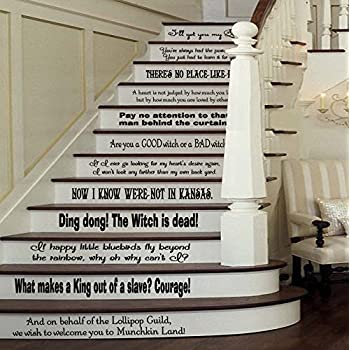 This Item Wizard Of Oz Assorted Quotes Set [BLACK] Vinyl Stairs Or Wall  Decal By GMDdecals Dorothy Baum Room Party Housewarming Gift Home Decor