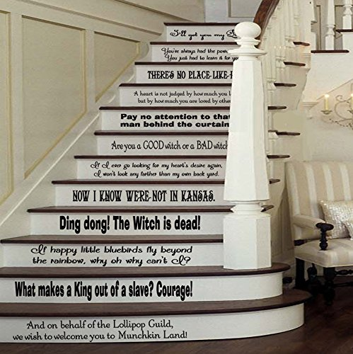Wizard of Oz Assorted Quotes Set [BLACK] Vinyl Stairs or Wall Decal by GMDdecals Dorothy Baum Room Party Housewarming Gift Home Decor