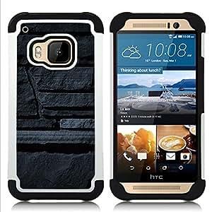 - stone wall grey art architecture design/ H??brido 3in1 Deluxe Impreso duro Soft Alto Impacto caja de la armadura Defender - SHIMIN CAO - For HTC ONE M9