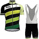 Hengxin Maillot Ciclismo Corto De Verano para Hombre, Ropa Culote Conjunto Traje Culotte Deportivo con 3D Almohadilla De Gel para Bicicleta MTB Ciclista Bici (Verde, M)