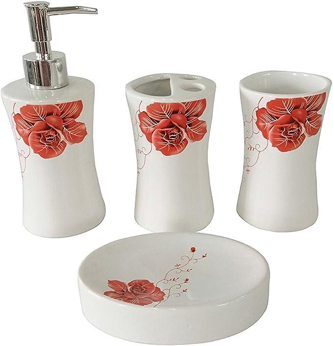 set di 4 accessori da bagno in ceramica dal design moderno Fingey dispenser di sapone e bicchiere per risciacquare Paris con portasapone portaspazzolino