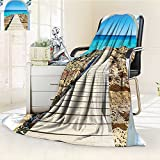 YOYI-HOME Fashion Designs Warm Duplex Printed Blanket an Open Window Curve on The Sea with a Quay Wooden Coastline Image Print Ivory Blue White Sofa,Air-Conditioner Room /W31.5 x H47