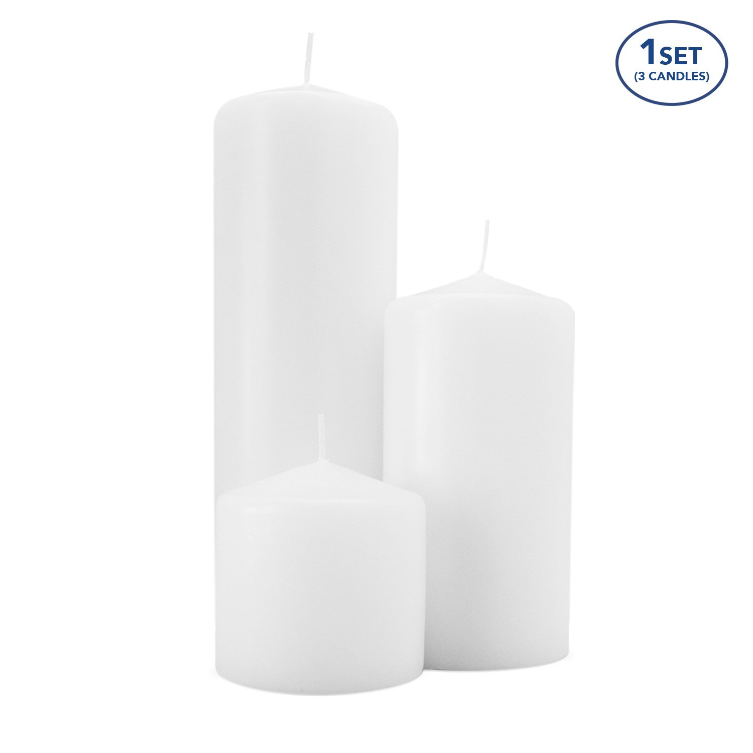 Royal Imports 1 Set of 3 Pillar Candles (3 Candles) Wedding, Birthday, Holiday & Home Decoration, 3x3, 3x6, 3x9, White Wax