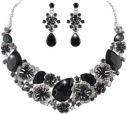 Beautiful Evening Jewellery Women Black Silver Camelia Flower Earrings Necklace