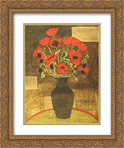 Oriental Poppies 2X Matted 18x15 Gold Ornate Framed Art Print by Beverly Jean