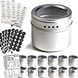 AUTHENTIC TALENTED KITCHEN MAGNETIC SPICE TINS + 2 TYPES OF SPICE LABELS INCLUDED & MAGNETIC KITCHEN CONVERSION CHART, THE MOST COMPLETE SET ON AMAZON: 113 PVC Clear Spice Sticker Set & 126 Black Round Chalkboard Spice Set.Talented Kitchen's ...