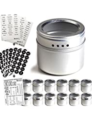12 Magnetic Spice Tins & 2 Types of Spice Labels by Talented Kitchen. 12 Round Storage Spice Rack Set, Clear Top w/Sift-Pour. With113 PVC & 126 Chalkboard Stickers. Magnetic On Refrigerator