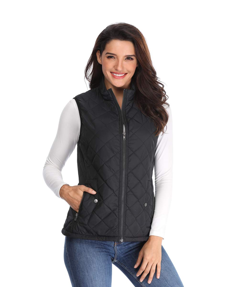 MISS MOLY Women's Lightweight Quilted Zip Vest Stand Collar Gilet Padded Sleeveless Gilet Vest-Black XL by MISS MOLY