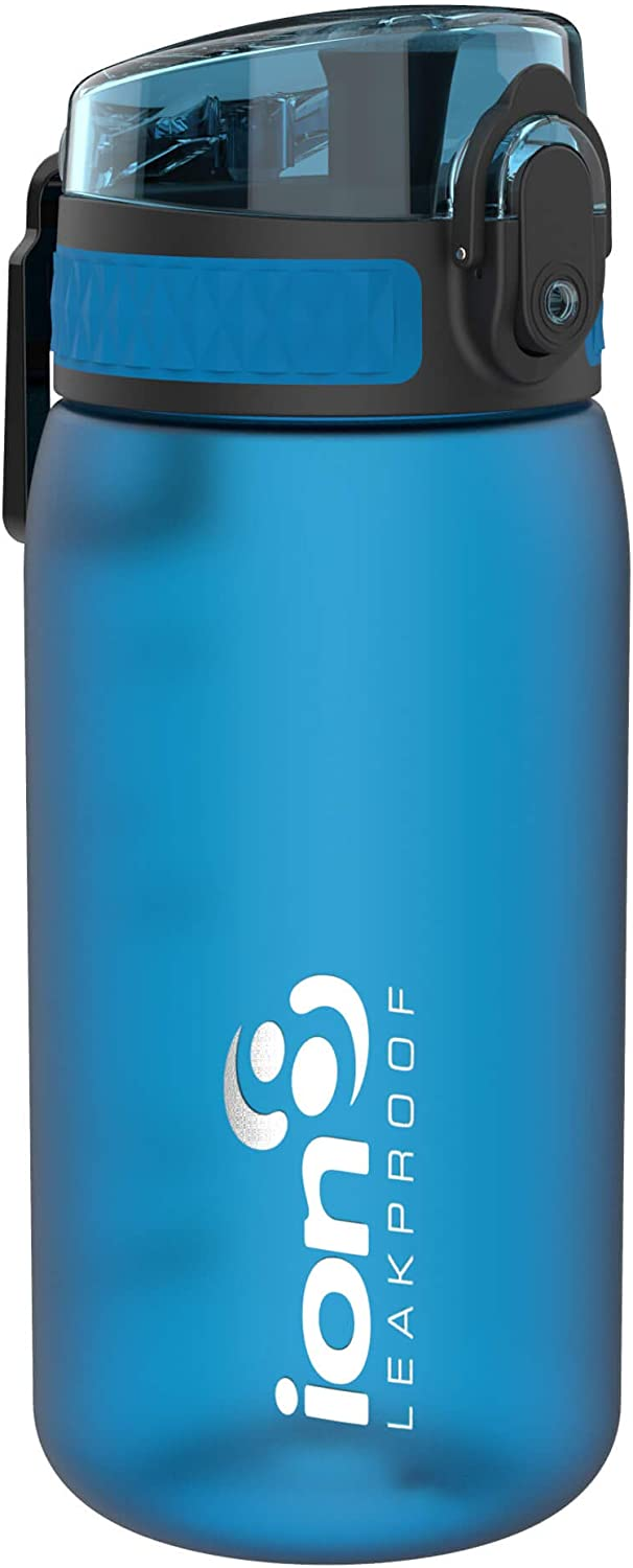 ion8 Leak Proof BPA Free, Botella de agua, sin BPS, a pueba de fugas, Azul (Frosted Blue), 350 ml