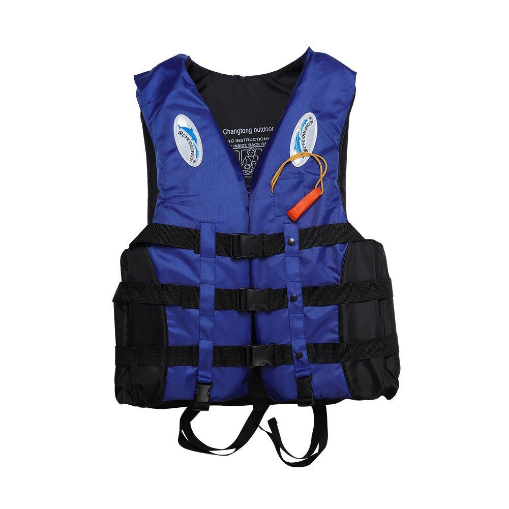 BeesClover S-3XL 大人用 ライフジャケット ライフセービング 水泳 ボート セーリング ベスト + ホイッスル ブルー S   B07NB79W97