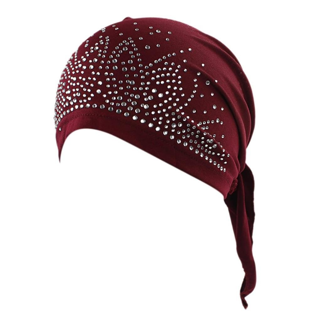 Women India Muslim Stretch Diamond Turban Hat Head Scarf Wrap Cap Black