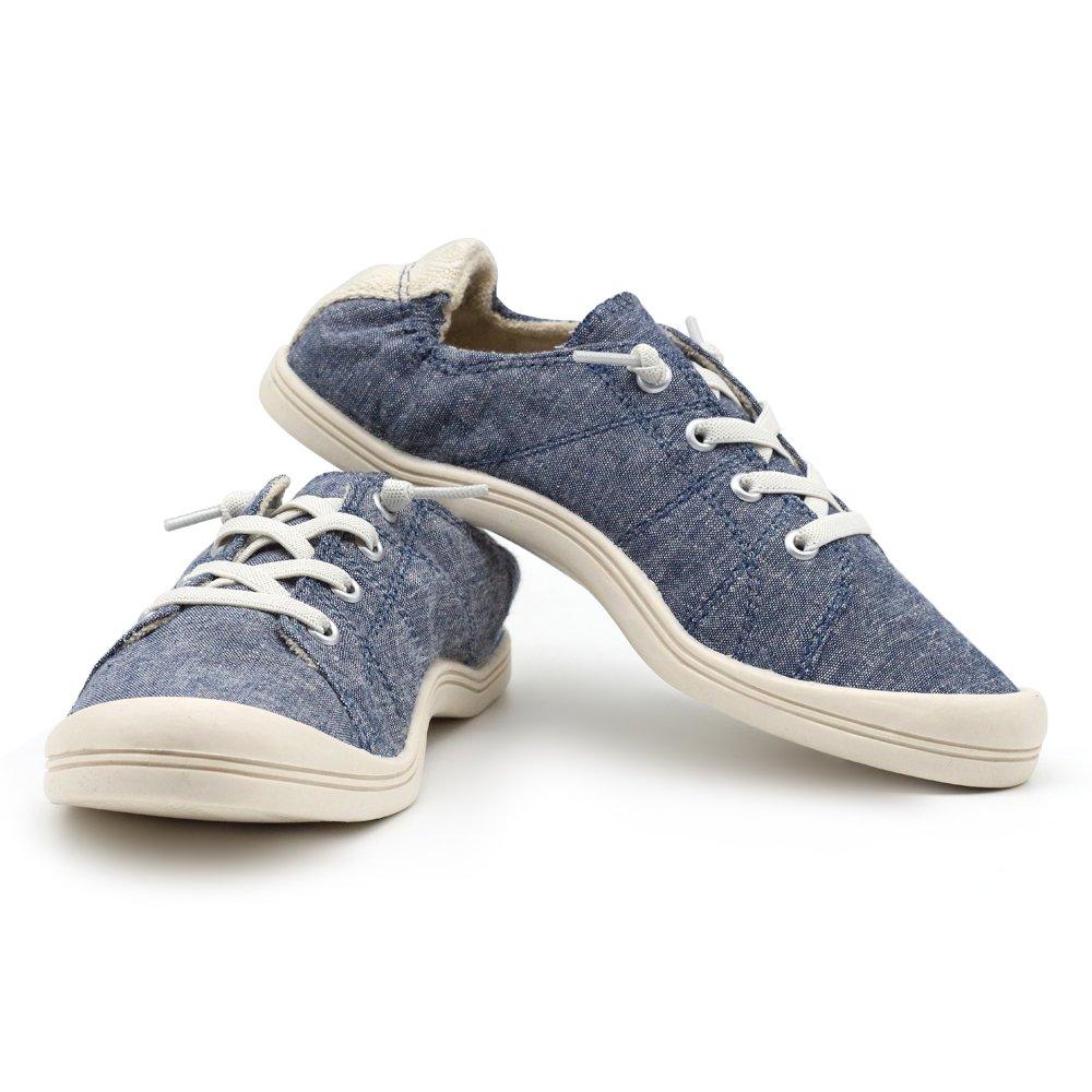 YNG Girl Women's Slip On Fashion Casual Comfort Sneaker Shoe (8, Navy Blue)