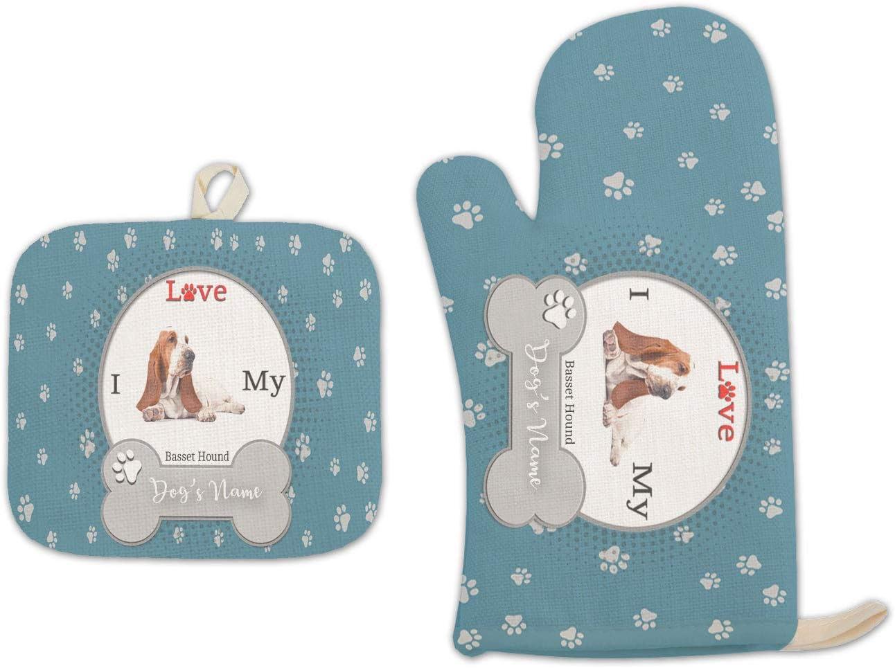 Bleu Reign BRGiftShop Personalized Custom Name I Love My Dog Basset Hound Linen Oven Mitt and Potholder Set