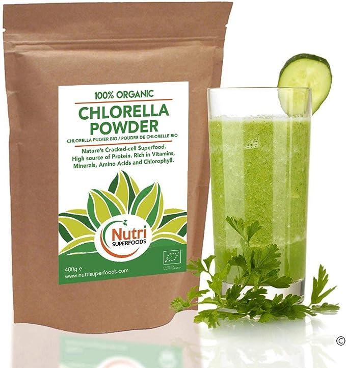 Polvo de Chlorella orgánico - Alto contenido en proteína vegetal vegana - Rico en clorofila - Aumenta la energía y mejora la digestión - 400g