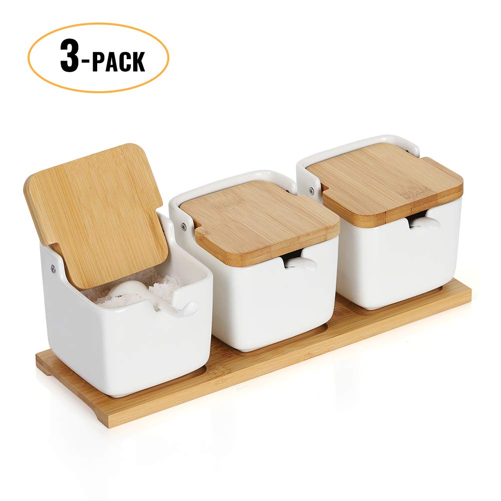 NEX Sugar Bowl, Set of 3 Sugar Jar Spice Pots with Bamboo Lid and Ceramic Spoon Seasoning Container Jars Rack for Kitchen, White