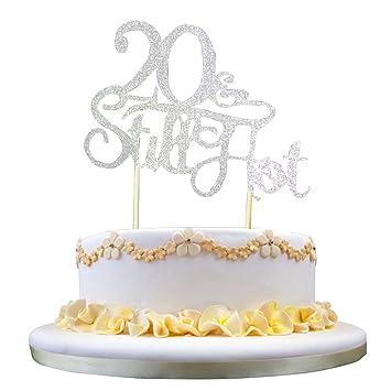 GrantParty Glitter Silver 20Still Hot Cake Topper